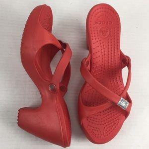 Crocs Cyprus V Heel Red Sandal Crisscross Wedge 8